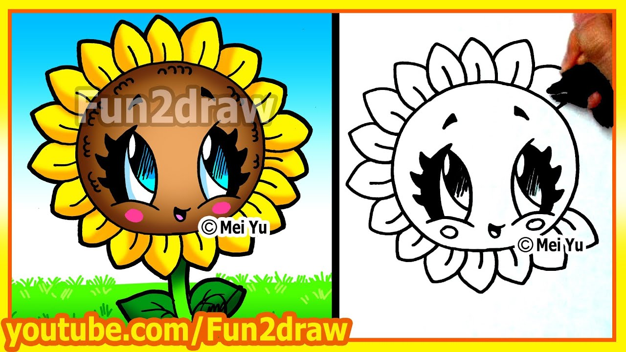Easy Things To Draw  How To Draw A Sun Flower  Fun2draw Art Lesson   Youtube