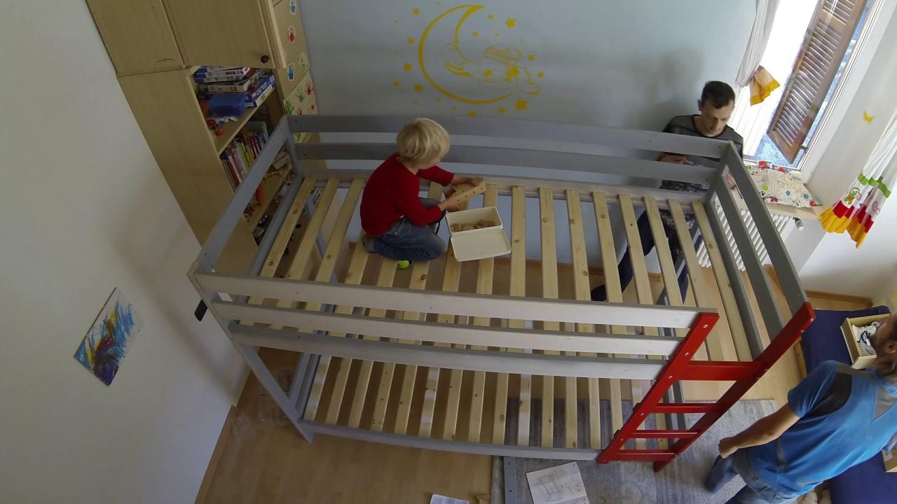 Assembly Of Ikea Mydal Bunkbed Hack With Custom Climbing