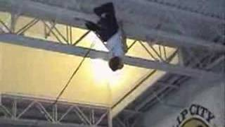 Sick trick performed on a trampoline.