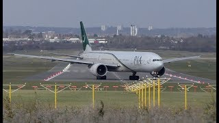 Boeing 777 Landing against strong head wind PIA Airlines Birmingham airport