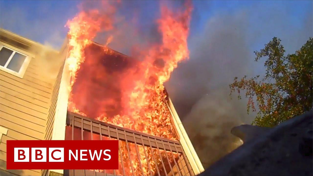 Dramatic body camera video shows Wichita fire rescue - BBC News - BBC News