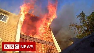 Dramatic body camera video shows Wichita fire rescue - BBC News