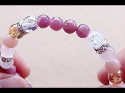 kiririピンクトルマリン・ソープストーン・ピンクカルセドニー・オーロラ水晶・クラック入り水晶|効果・意味|パワーストーンブレスレット