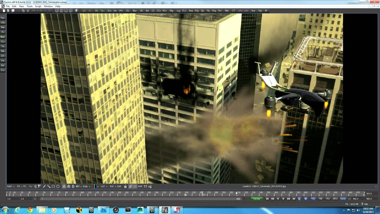 3D Compositing in Fusion 6 4: Part 1  Transformers / Terminator type shot