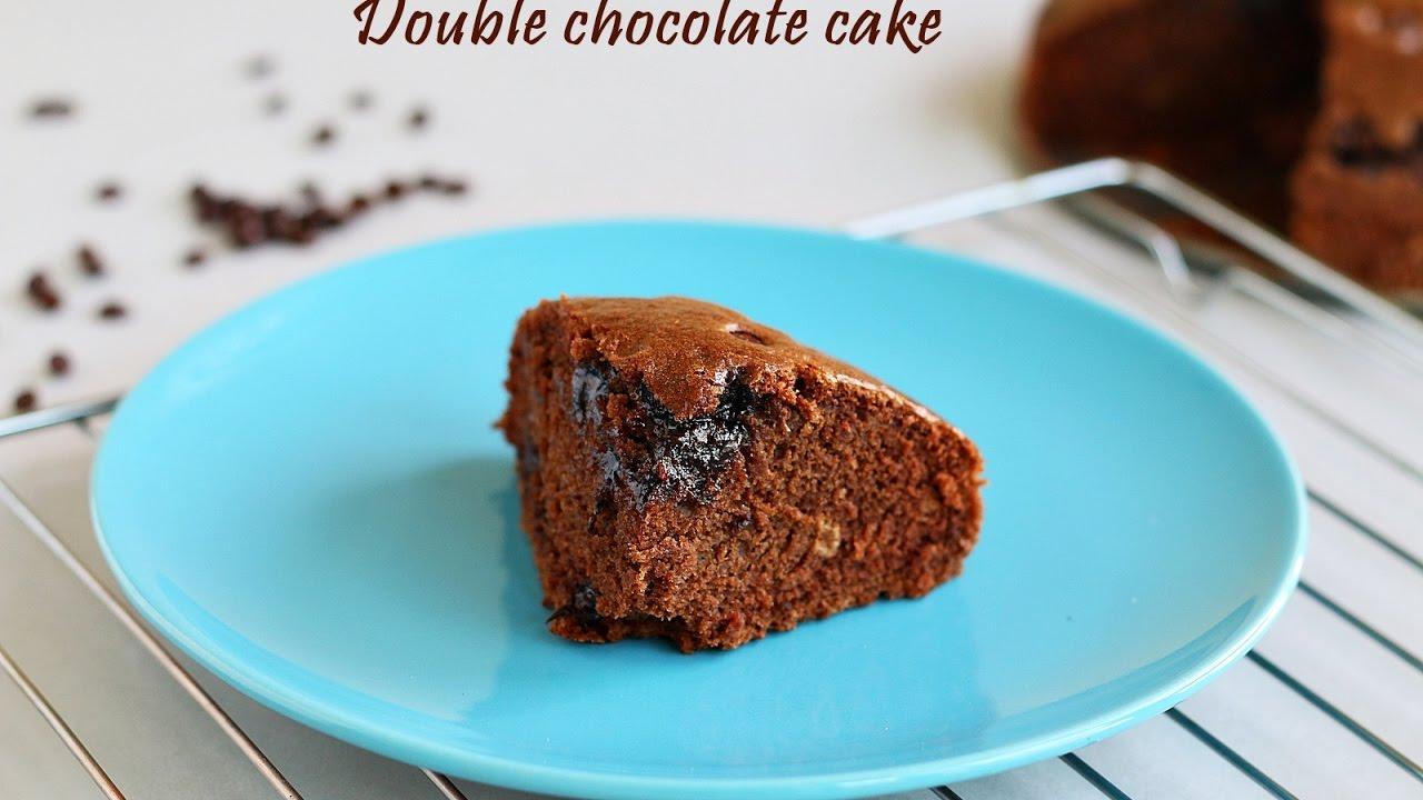 Eggless Double chocolate cake - YouTube