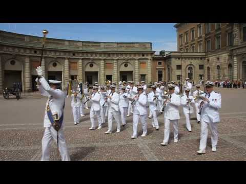 The Royal Swedish Navy Band performs at the changing of the guard in Stockholm, Sweden