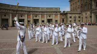 The Royal Swedish Navy Cadet Band performs at the changing of the guard in Stockholm, Sweden