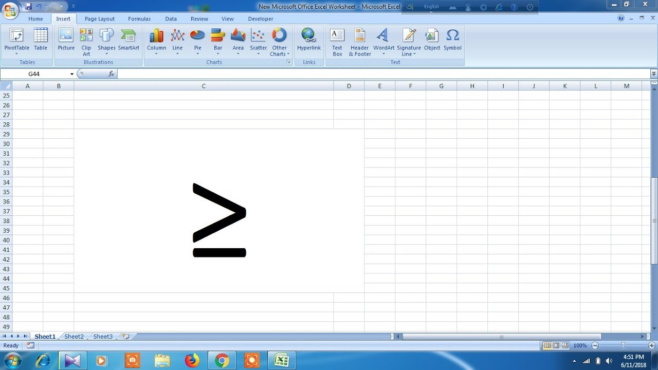 How To Type Greater Than Or Equal To Symbol In Excel Youtube