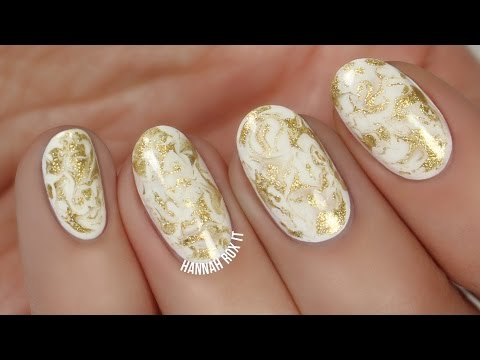 Easy Gold Marble Nails (with a toothpick!)