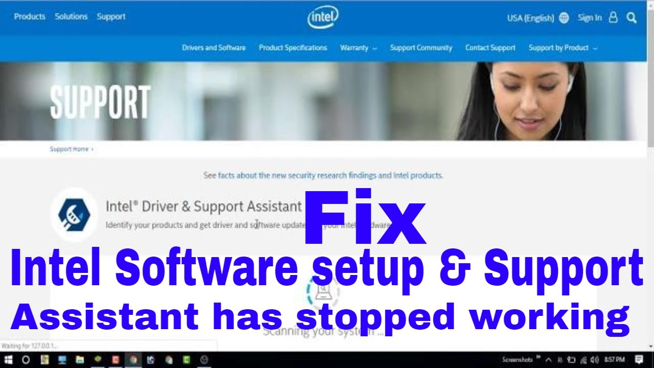 Intel Software setup & Support assistant has stopped working