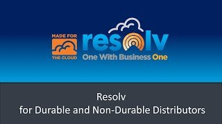 Durable/Non-Durable Goods Distribution with Resolv