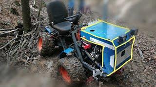 Traktor domácej výroby, ciągnik, zrywka drewna