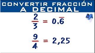 Convertir fracción en decimal