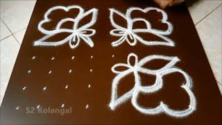 Simple 8 to 8 dots flower kolam / flower rangoli design / chukkala muggulu designs
