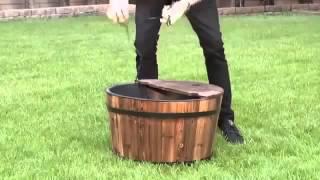 Gifte-mart 3 Tier Wood Wooden Apple Wine Barrel Outdoor Garden Patio Pond Water Fountain Planter