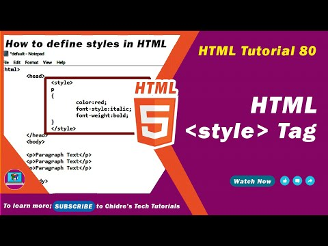 HTML Video Tutorial - 80 - Html Style Tag