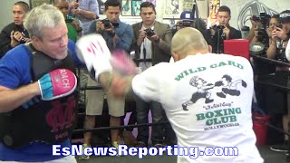 Miguel Cotto WORKING the MITTS with Freddie Roach - EsNews Boxing