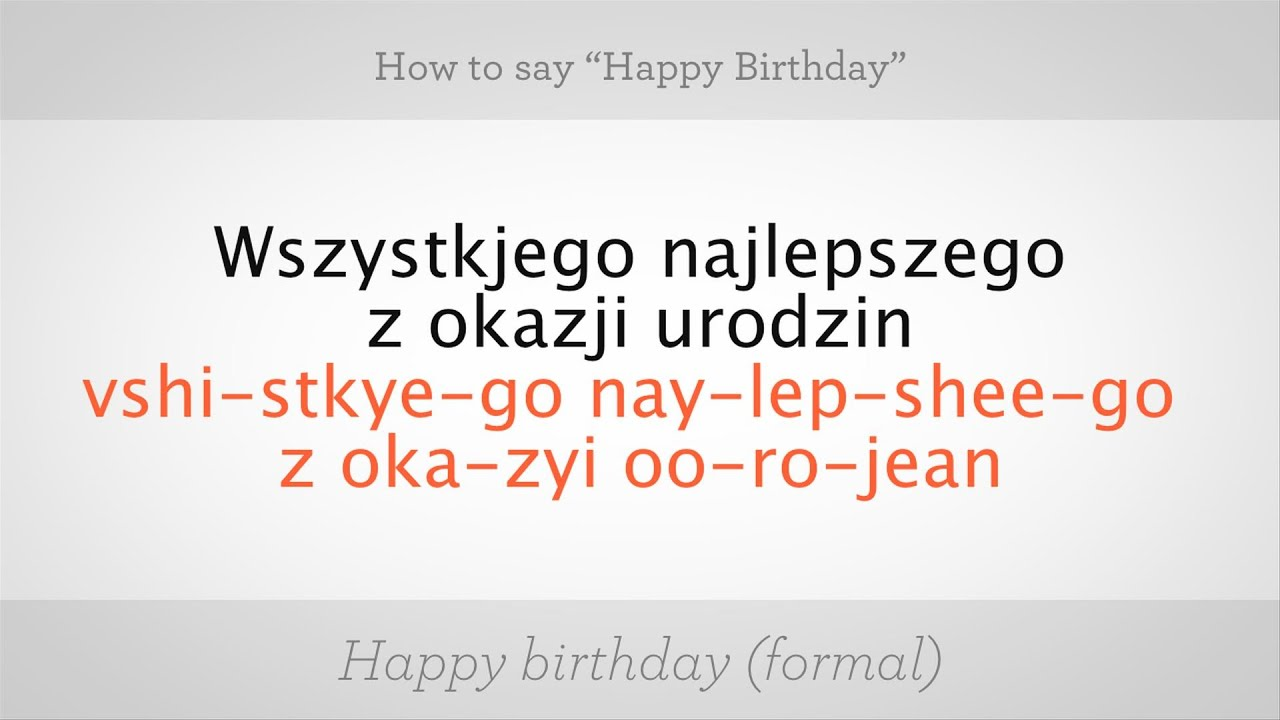 how to say happy birthday in polish polish lessons youtube