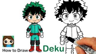How to Draw Deku Midoriya | My Hero Academia