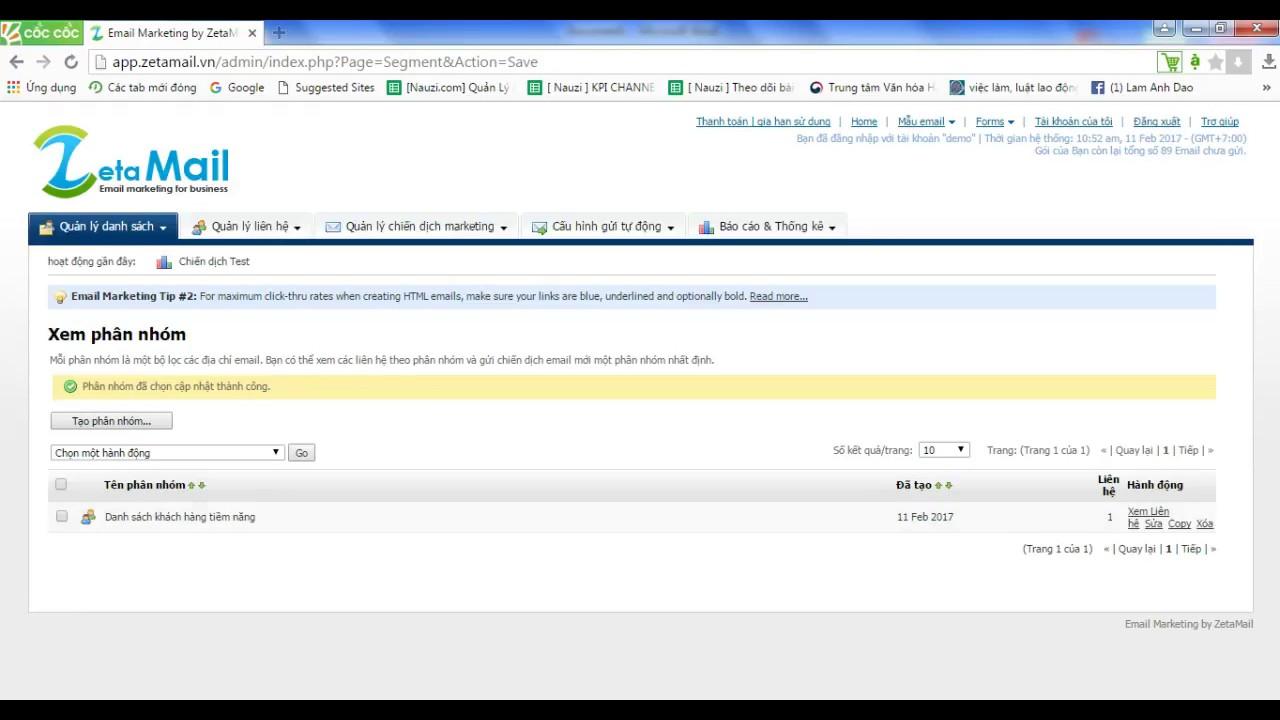 Hướng dẫn phân loại danh sách trên hệ thống dịch vụ Email Marketing