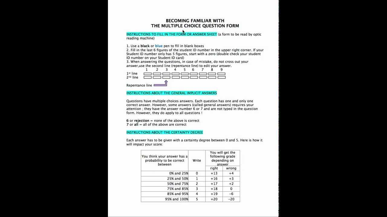 Understanding multiple choice forms at HEC Liège (EN)