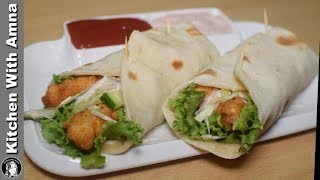 Zinger Roll With Tortilla Bread - Homemade Chicken Zinger Roll Recipe - Kitchen With Amna