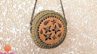 كروشيه شنطة بخيط الكليم و الوش الخشب - Crochet wooden circle bag