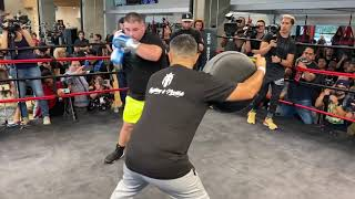 ANDY RUIZ IN BEAST MODE, FIRST LOOK IN CAMP BLASTING POWER & SPEED