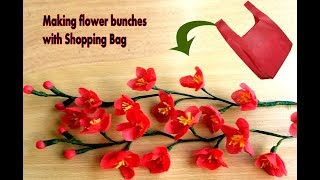 Making flower idea of fabric carry bag and Shopping  Bag | Making flower bunches | Best out of waste
