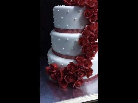 Red roses Wedding cake - YouTube