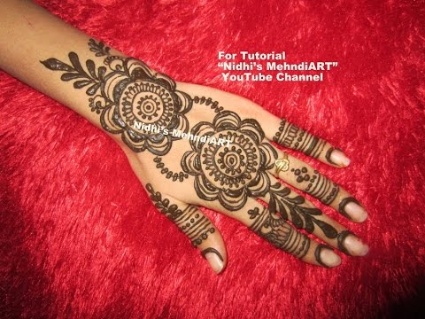Henna Mehndi S : Stunning new gulf style back hand henna mehndi design tutorial step