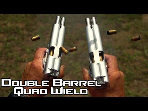Double Barreled 1911 pistol quad wield rapid fire! 20 rounds in 1.5 seconds in SlowMo  AF2011 (4K)