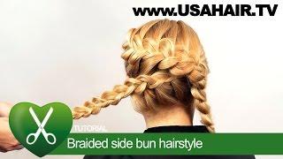Braided side bun hairstyle. parikmaxer TV USA | parikmaxer TV USA