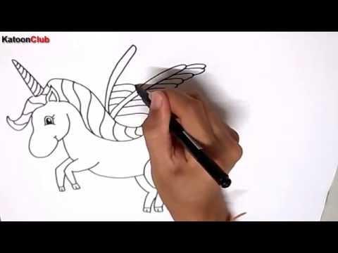 ม้ายูนิคอร์น สอนวาดรูปการ์ตูนน่ารักง่ายๆ ระบายสี How to Draw Unicorn Cartoon Easy