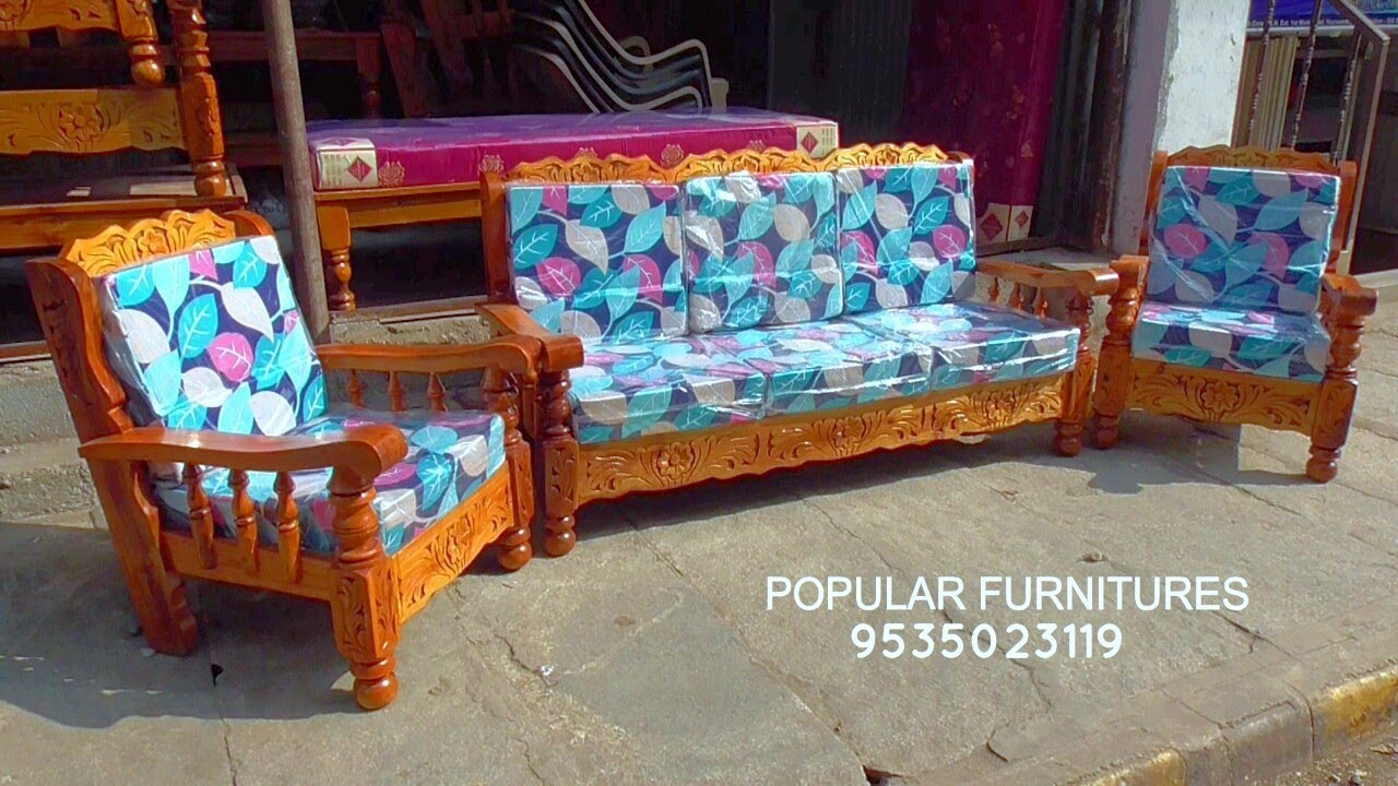 Popular Furnitures In Wooden Sofas And Kushan Sheets