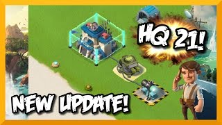 "Boom Beach OCTOBER 2015 UPDATE! ""HEADQUARTERS 21"" (HQ 21), ""SHOCK MINE"", ""SHIELD GENERATOR""!"