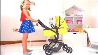 Katy pretend play with baby Strollers