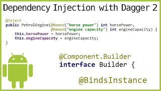 Dagger 2 Tutorial Part 8 - @COMPONENT.BUILDER, @BINDSINSTANCE & @NAMED - Android Studio Tutorial