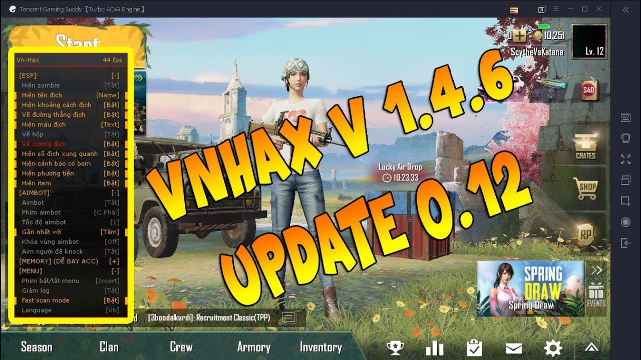 PUBG Mobile VnHax 1.4.6 Hack Update 0.12  20-4-2019 For Free