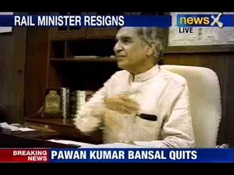 NewsX : Railway minister: Pawan Kumar Bansal resigns