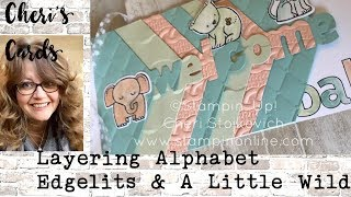 Triplets Card! Layering Alphabet Edgelits & A Little Wild Handmade Baby Stampin' Up! Card