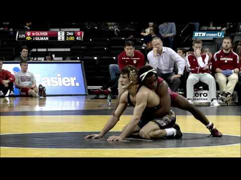 Indiana Hoosiers at Iowa Hawkeyes Wrestling: 125 Pounds  - Oliver vs. Gilman