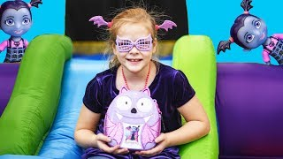 Playing with the Vampirina Back Pack Bounce House Surprise with the Assistant