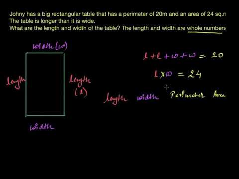 Area and perimeter word problem- table (Hindi) | Area and Perimeter | Class 7 (India) | Khan Academy