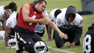 Oakland raiders ota: derek carr and offensive coordinator todd downing