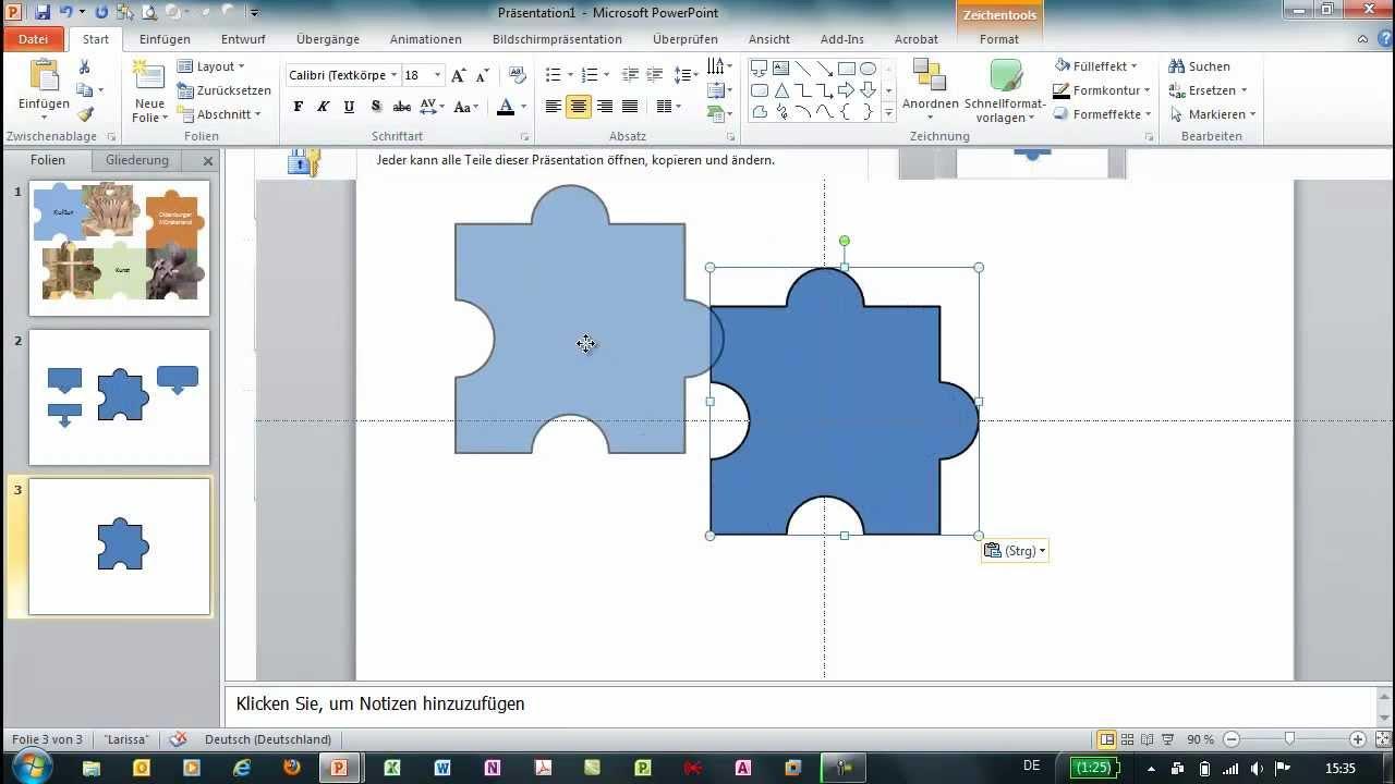 PowerPoint - Eigene Formen erstellen - Puzzle-Teile - YouTube