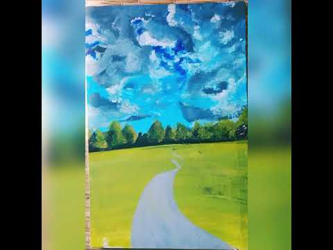 Beautiful and Simple Field Acrylic Landscape Painting on Canvas