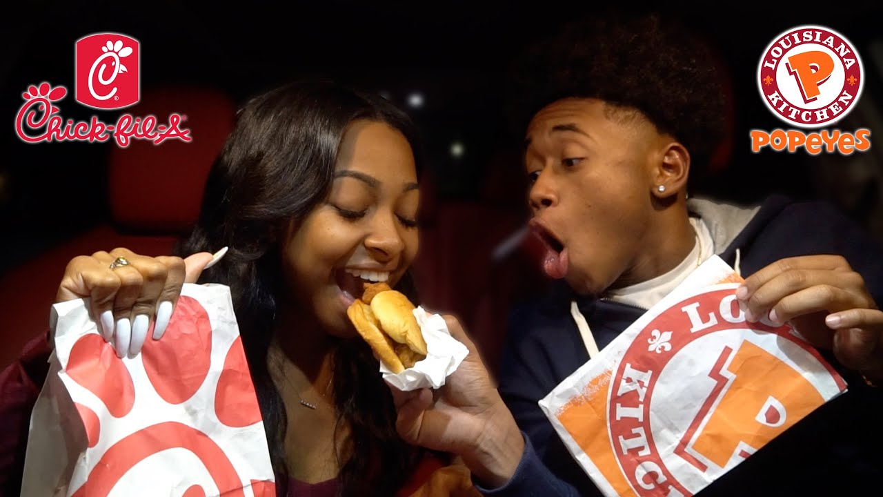 Popeyes vs Chick-Fil-A  | Couples Mukbang 😍🍔