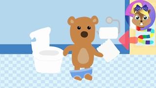 L'ours en peluche va seul aux toilettes français | Potty Training Game | Joue avec moi Apps