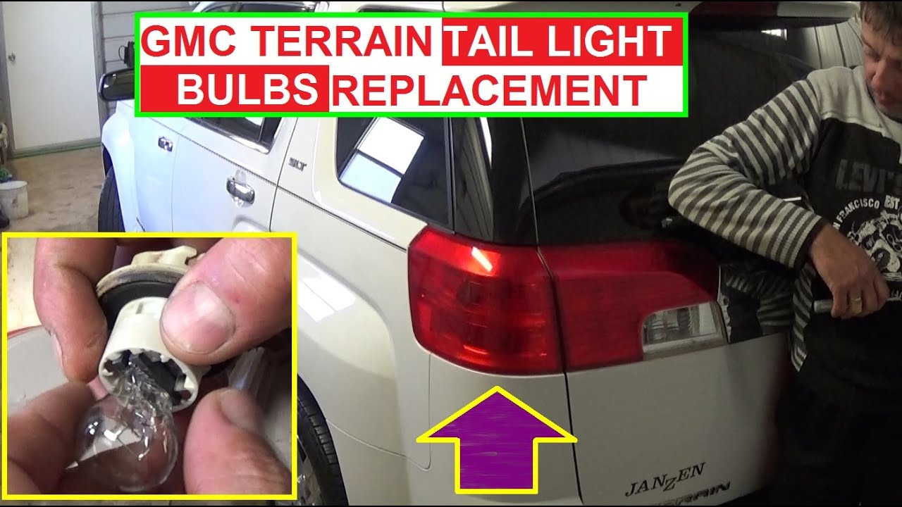 medium resolution of gmc terrain brake light tail light rear turn signal light bulb replacement tail light removal